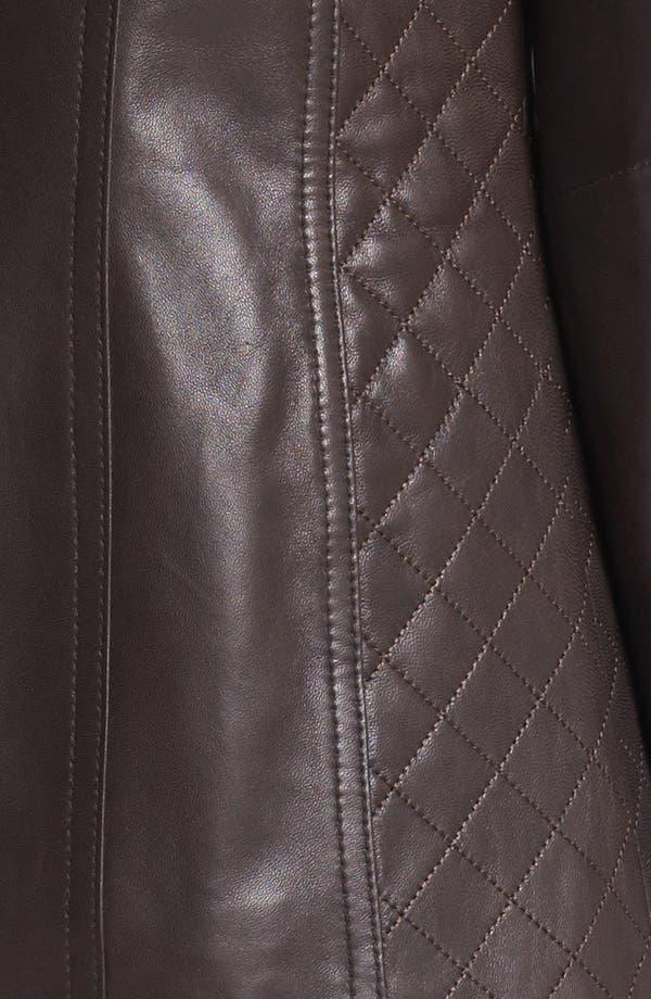 Alternate Image 3  - Ellen Tracy Quilt Trim Leather Jacket
