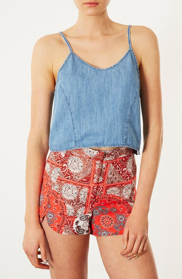 Alternate Image 1 Selected - Topshop Denim Crop Top