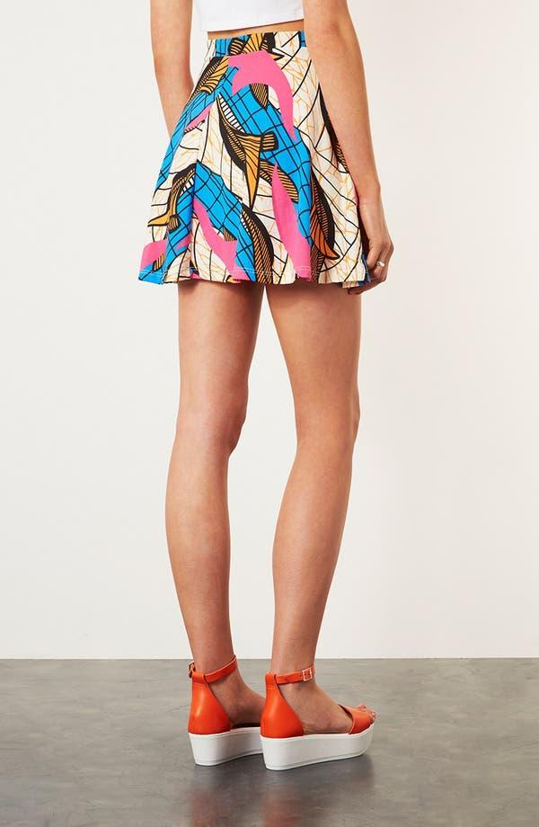 Alternate Image 2  - Topshop Fluorescent Print Skater Skirt