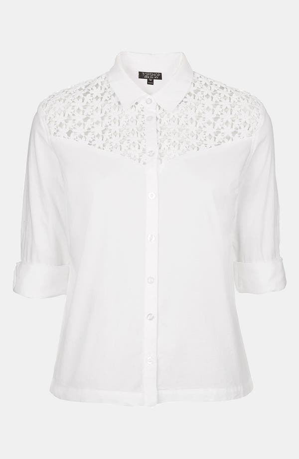 Alternate Image 3  - Topshop Crochet Yoke Shirt