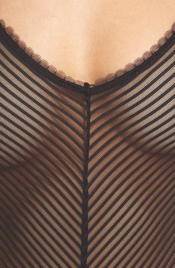 Shiny Stripe Bodysuit,                             Alternate thumbnail 5, color,                             Black