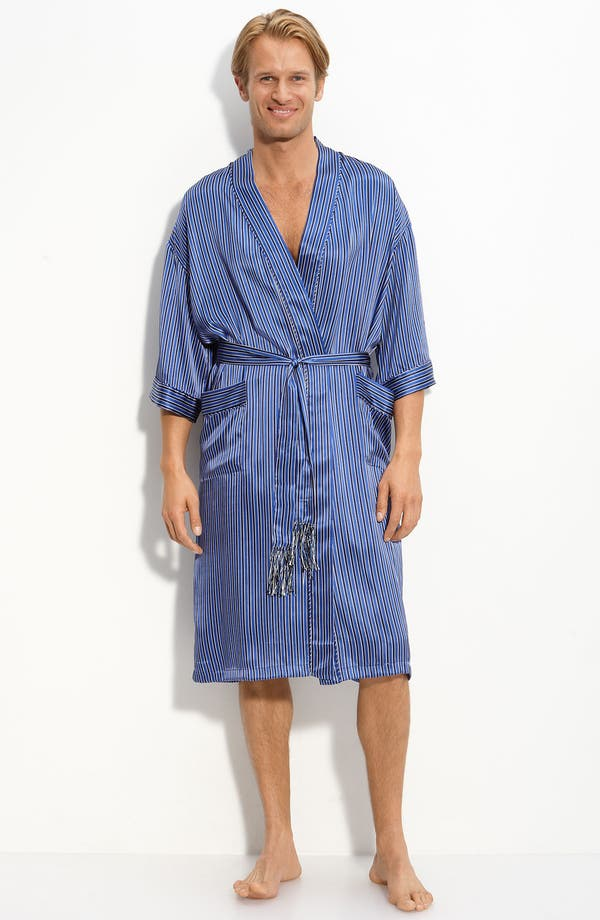 Main Image - Majestic 'Curacao' Stripe Silk Robe