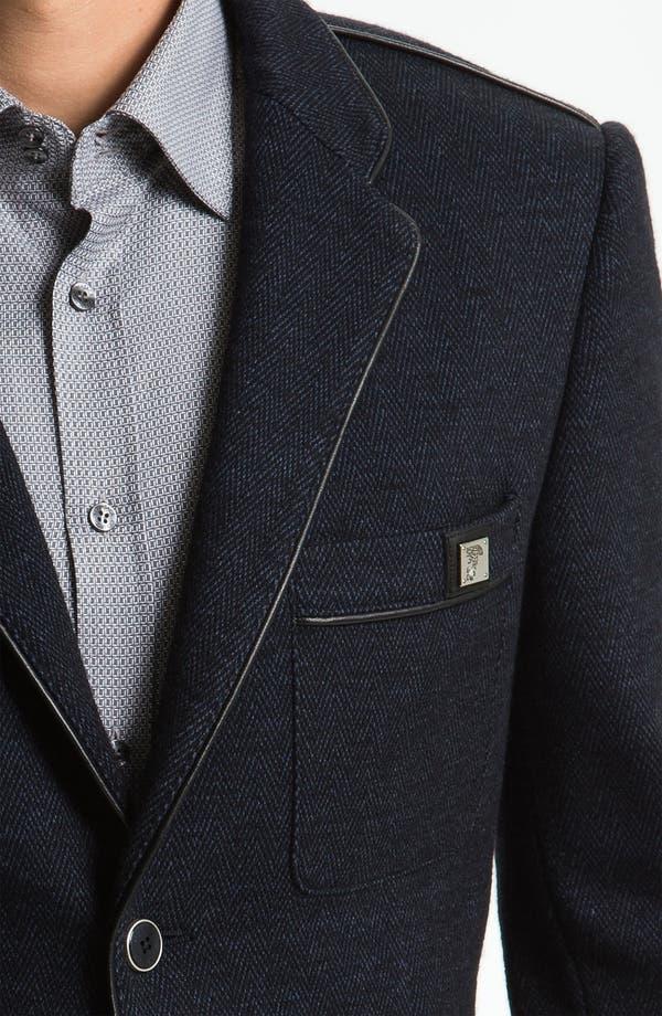 Alternate Image 3  - Versace Trim Fit Leather Trim Blazer