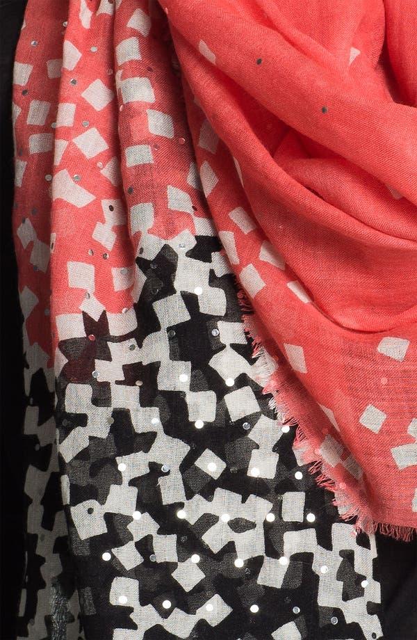 'Hanover' Wool & Silk Scarf,                             Alternate thumbnail 2, color,                             Confetti Peach Coral