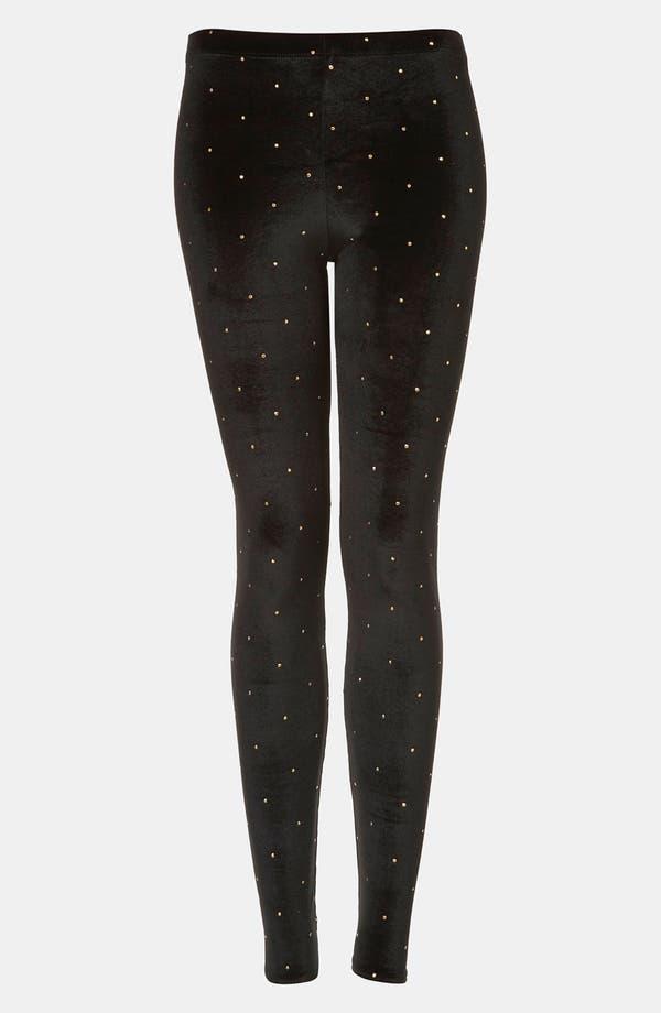 Alternate Image 1 Selected - Topshop Studded Velvet Leggings