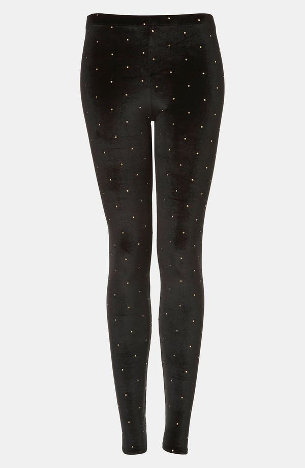 Main Image - Topshop Studded Velvet Leggings