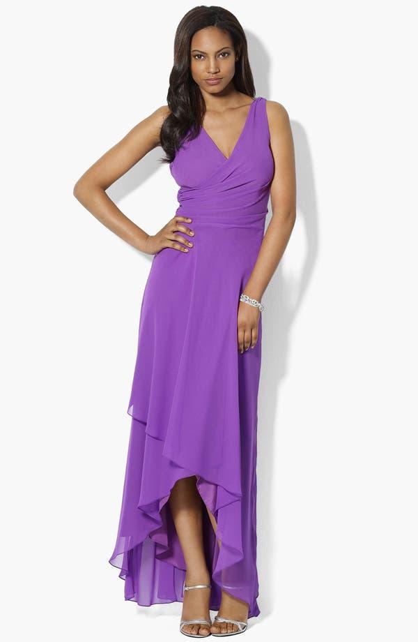 Main Image - Lauren Ralph Lauren Asymmetric Ruffled Chiffon Gown