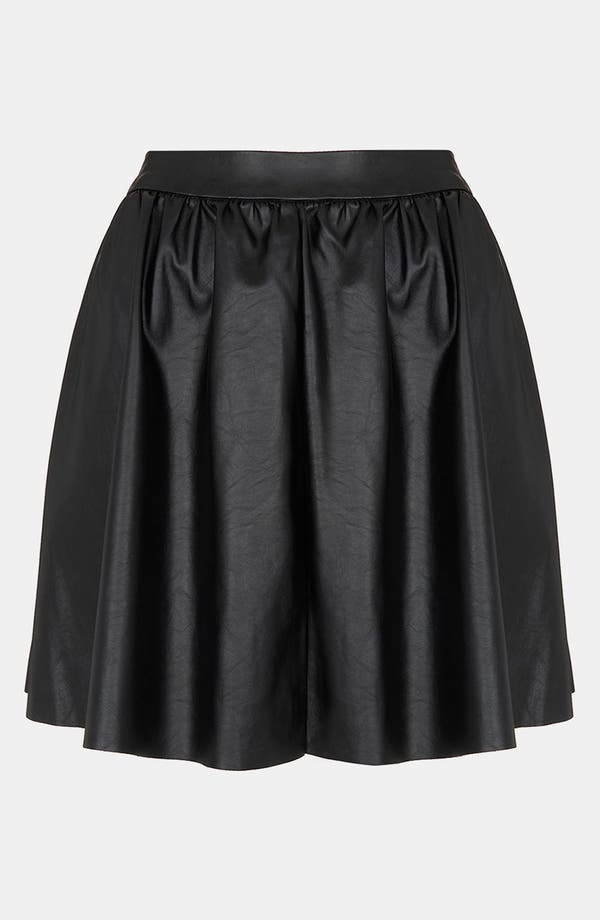 Main Image - Topshop Faux Leather Skater Skirt (Petite)
