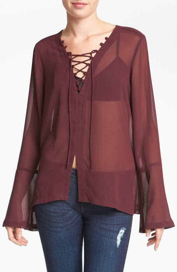 Alternate Image 1 Selected - Leith Lace-Up Peasant Top