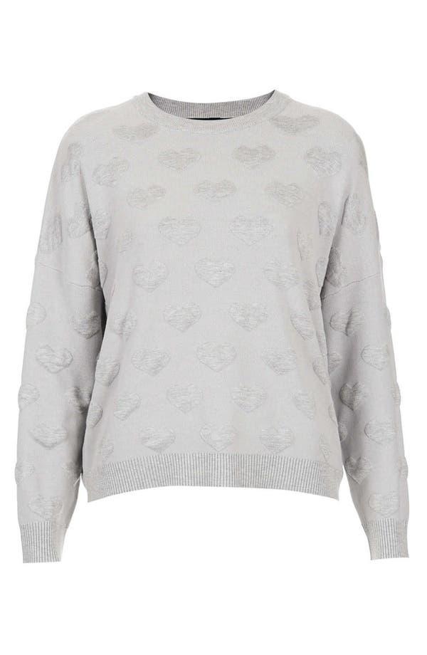 Alternate Image 1 Selected - Topshop Quilted Heart Sweatshirt (Petite)