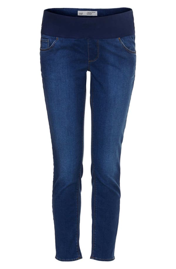 Main Image - Topshop Moto 'Leigh' Skinny Maternity Jeans (Mid Stone)