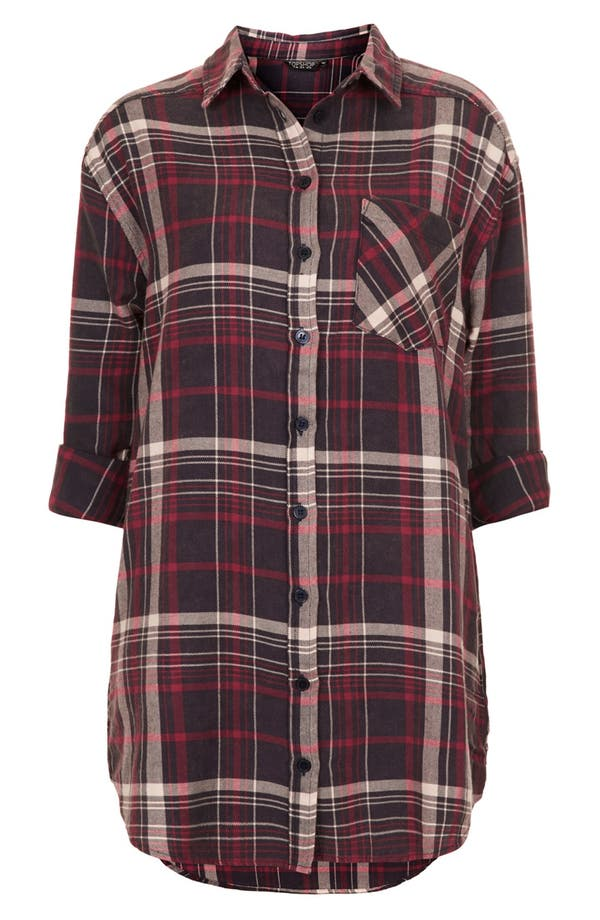 Alternate Image 3  - Topshop Check Print Oversized Cotton Shirt