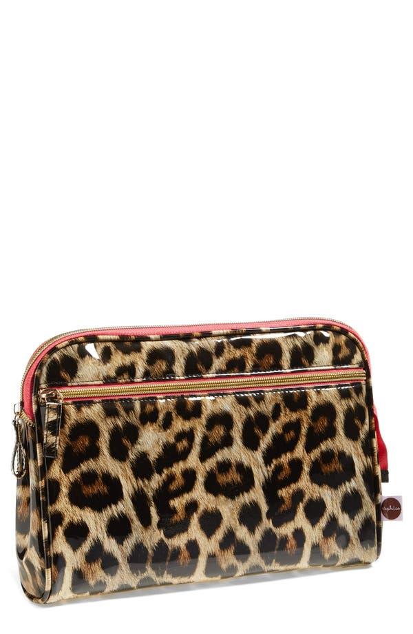 'Shiny Leopard' Large Cosmetics Case,                             Main thumbnail 1, color,                             No Color