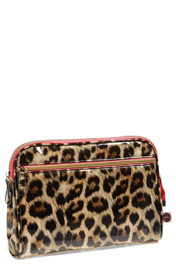 Main Image - steph&co. 'Shiny Leopard' Large Cosmetics Case (Nordstrom Exclusive)