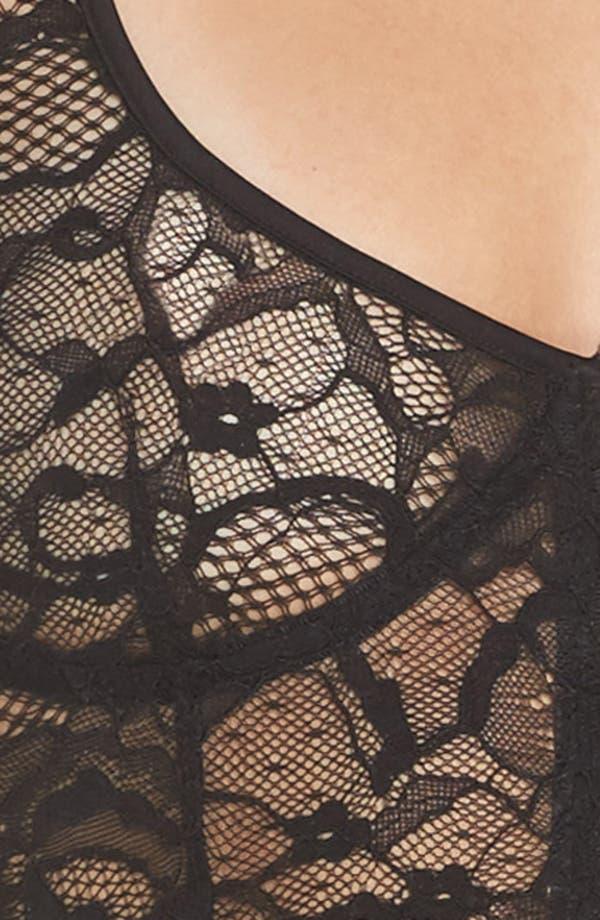 Lace Longline Bralette,                             Alternate thumbnail 4, color,                             Black