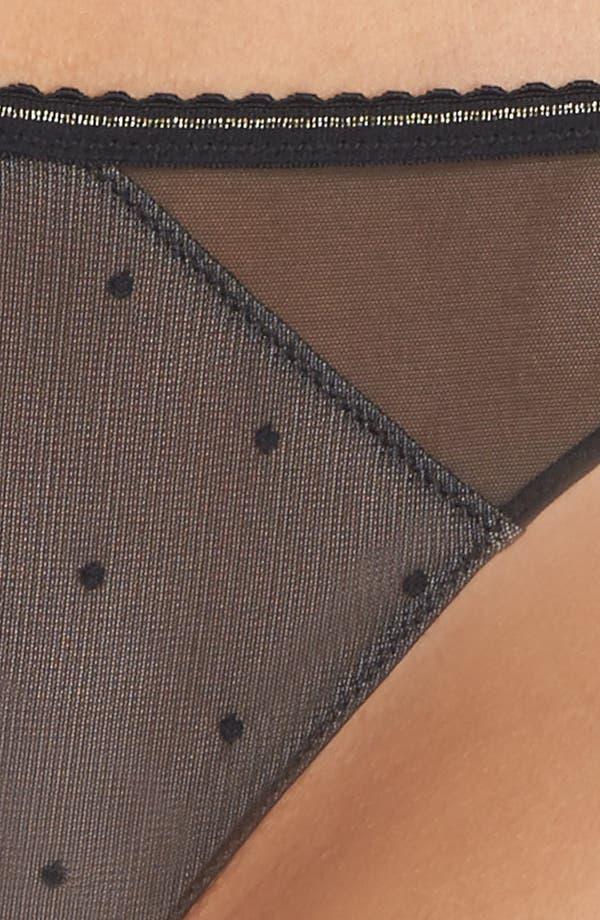 Eyelash Lace Thong,                             Alternate thumbnail 5, color,                             Black/ Nude