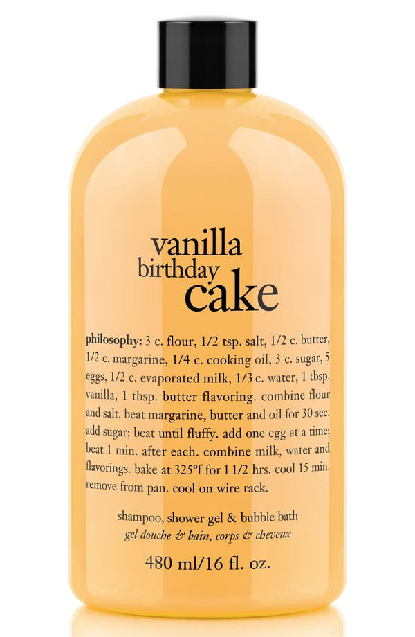 Main Image - philosophy 'vanilla birthday cake' shampoo, shower gel & bubble bath