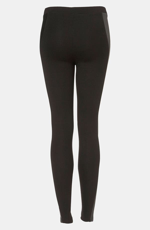 Alternate Image 2  - Topshop Faux Leather Panel Leggings
