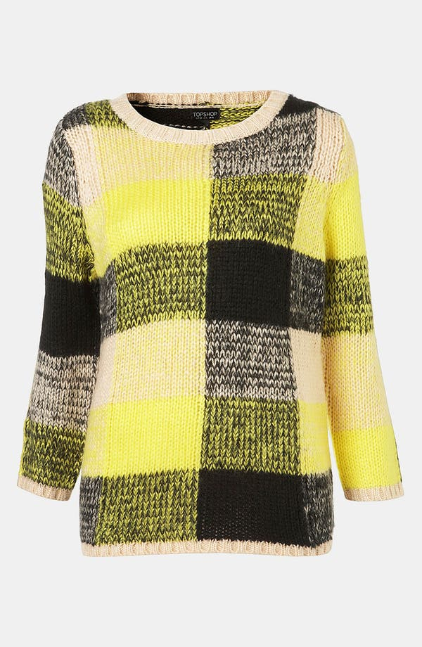 Alternate Image 1 Selected - Topshop Oversized Plaid Sweater