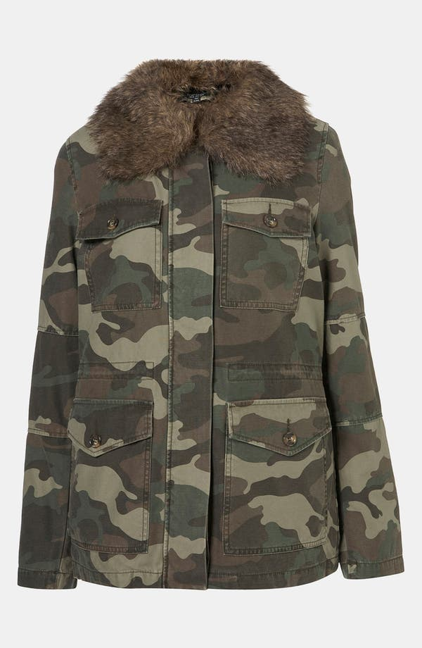 Alternate Image 5  - Topshop Faux Fur Lined Camo Utility Jacket
