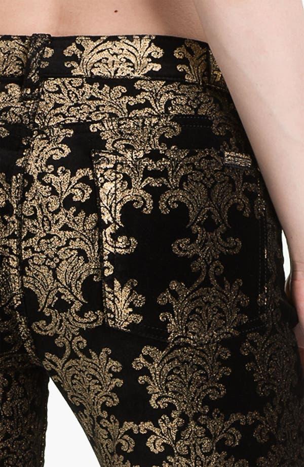 Alternate Image 3  - 7 For All Mankind® 'The Skinny' Foil Print Jeans (Black/Gold Foil)