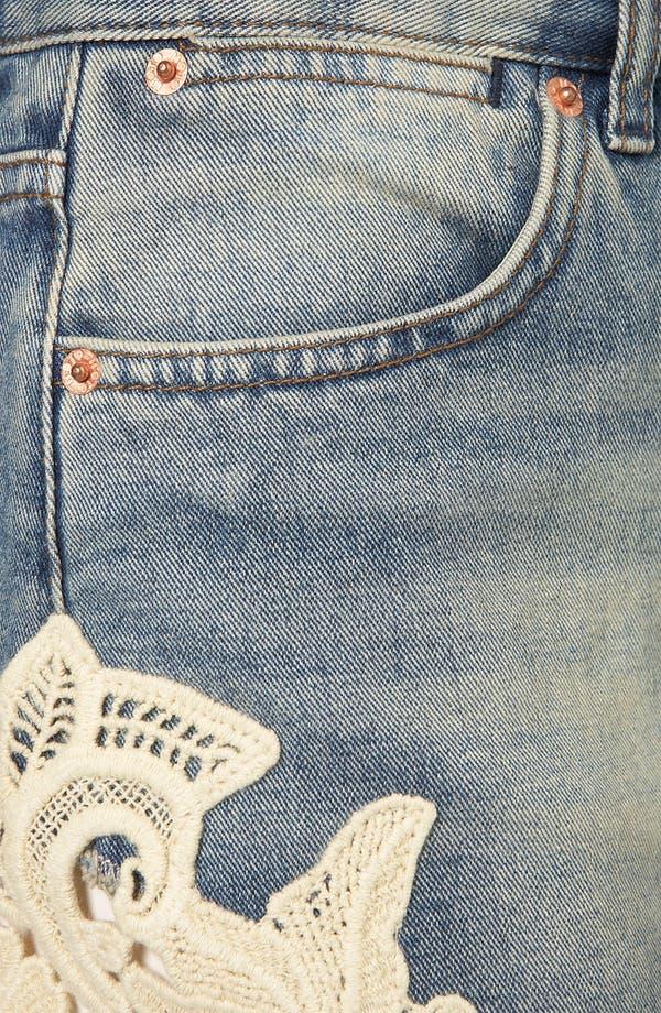 Alternate Image 3  - Topshop Moto 'Ruthie' Crochet Trim Denim Shorts