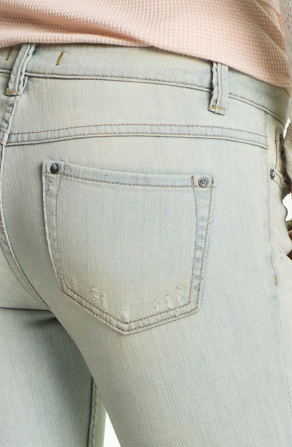 Alternate Image 3  - Free People Destroyed Skinny Stretch Jeans (Palm Indigo)