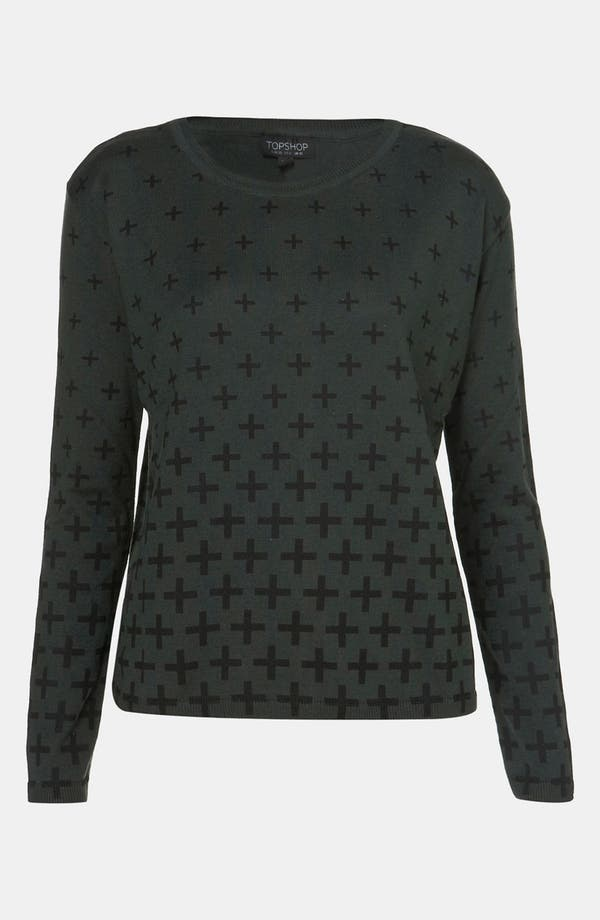 Main Image - Topshop Gradient Cross Split Back Sweater