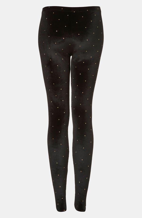 Alternate Image 2  - Topshop Studded Velvet Leggings