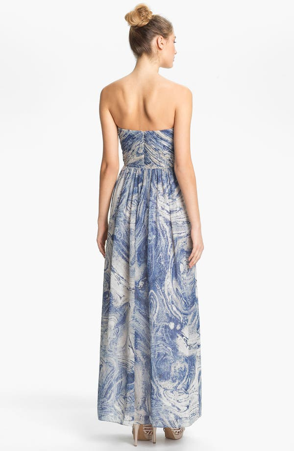 Alternate Image 2  - Calvin Klein Embellished Print Strapless Chiffon Gown