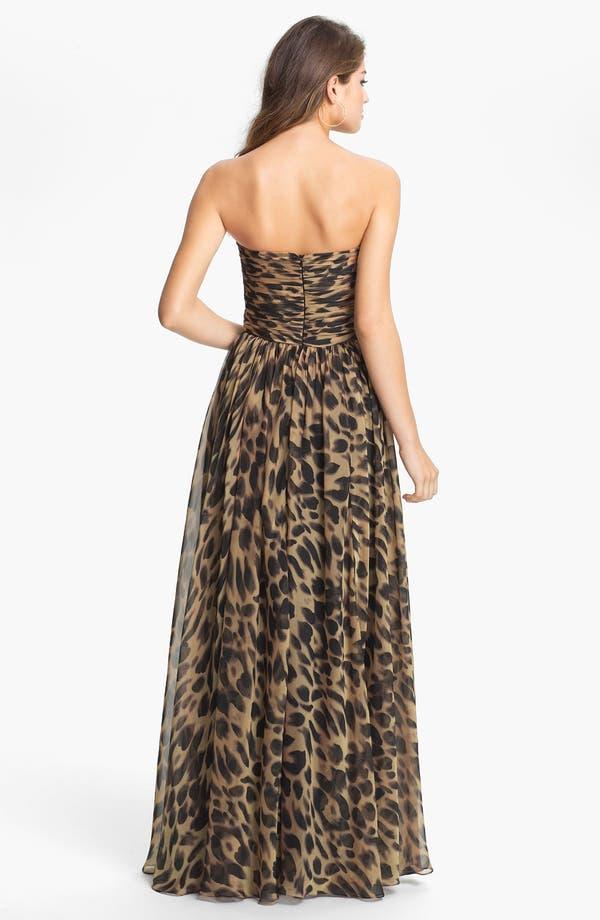 Alternate Image 2  - La Femme Print Strapless Chiffon Gown