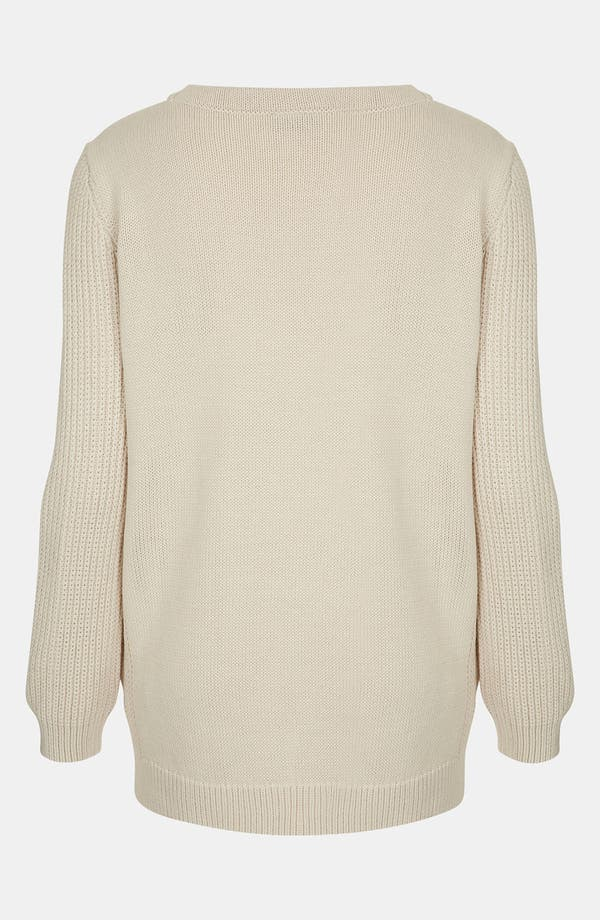 Alternate Image 2  - Topshop Ribbed Sleeve Sweater