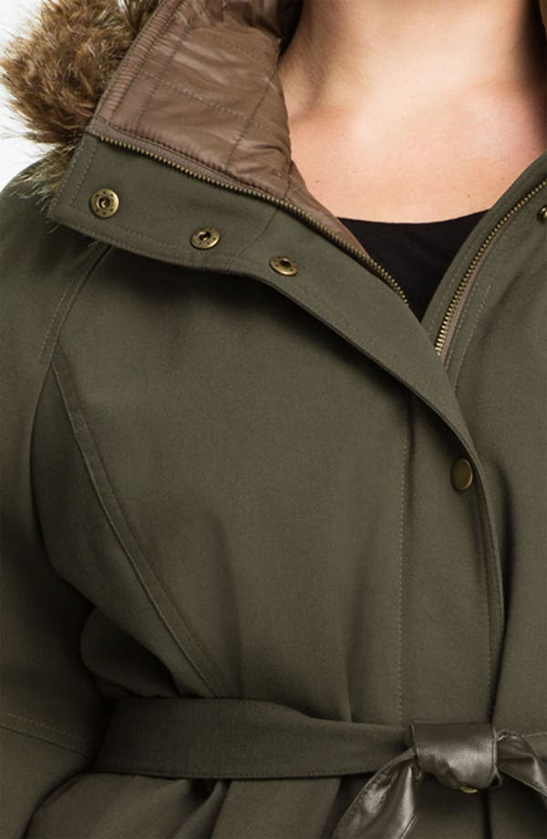 Alternate Image 3  - Kristen Blake Belted Coat with Faux Fur Trim (Plus)