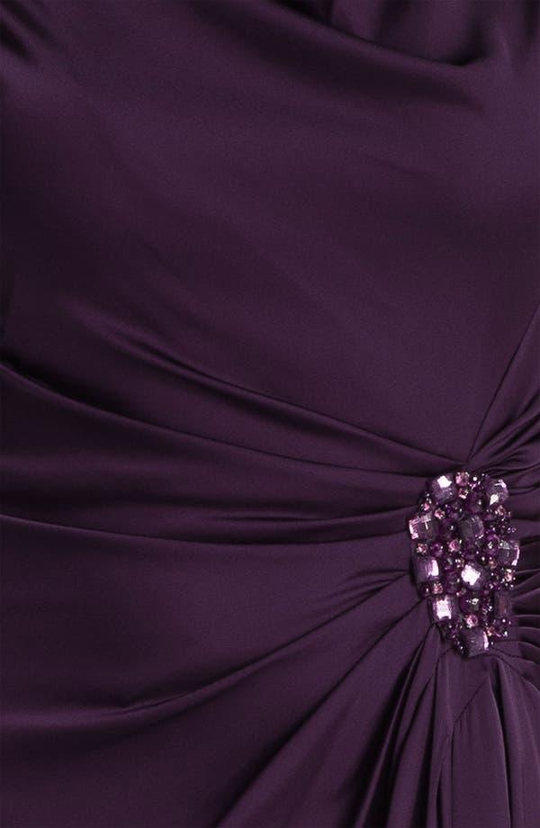 Alternate Image 3  - Patra Cowl Neck Side Slit Satin Gown (Petite)