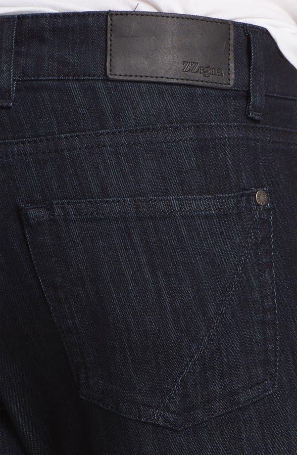 Alternate Image 4  - Z Zegna 'Metalized Effect' Straight Leg Jeans (Navy)