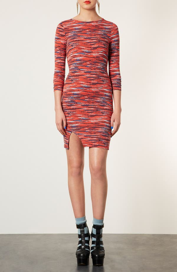 Main Image - Topshop Stripe Notched Body-Con Dress