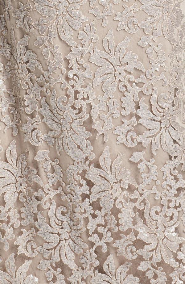 Alternate Image 3  - Tadashi Shoji V-Neck Lace Gown (Plus Size)