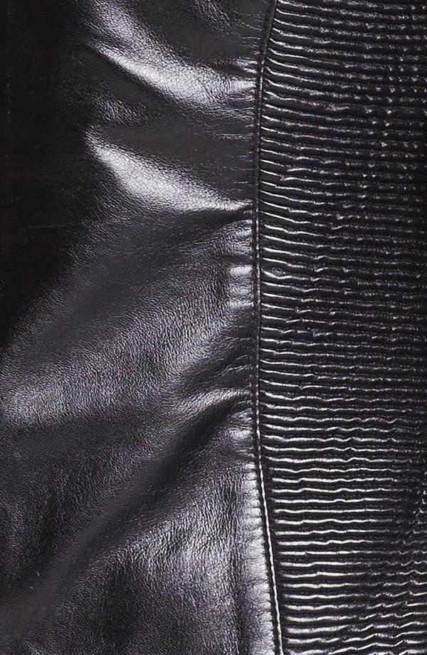 Alternate Image 3  - Via Spiga Ribbed Side Leather Jacket (Regular & Petite) (Online Only)