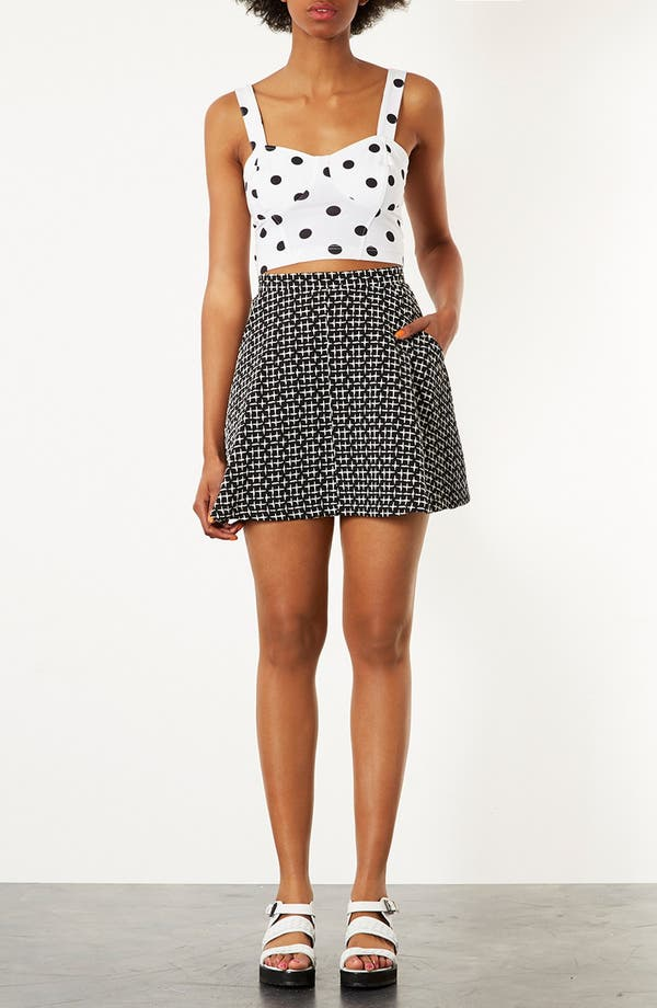 Alternate Image 3  - Topshop Cross Stitch Print Skirt
