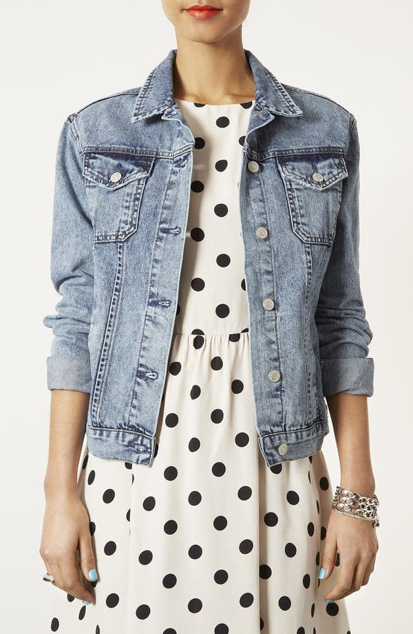 Main Image - Topshop Moto 'Sylvie' Acid Wash Denim Jacket