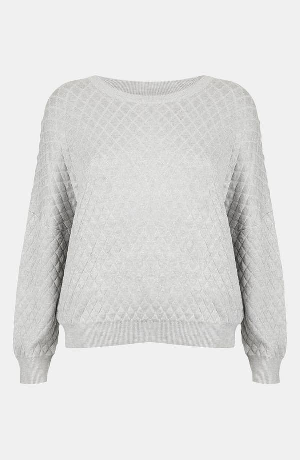 Quilted Sweatshirt,                         Main,                         color, Light Grey