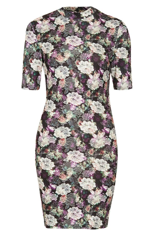 Alternate Image 3  - Topshop Lace Print Mock Neck Dress