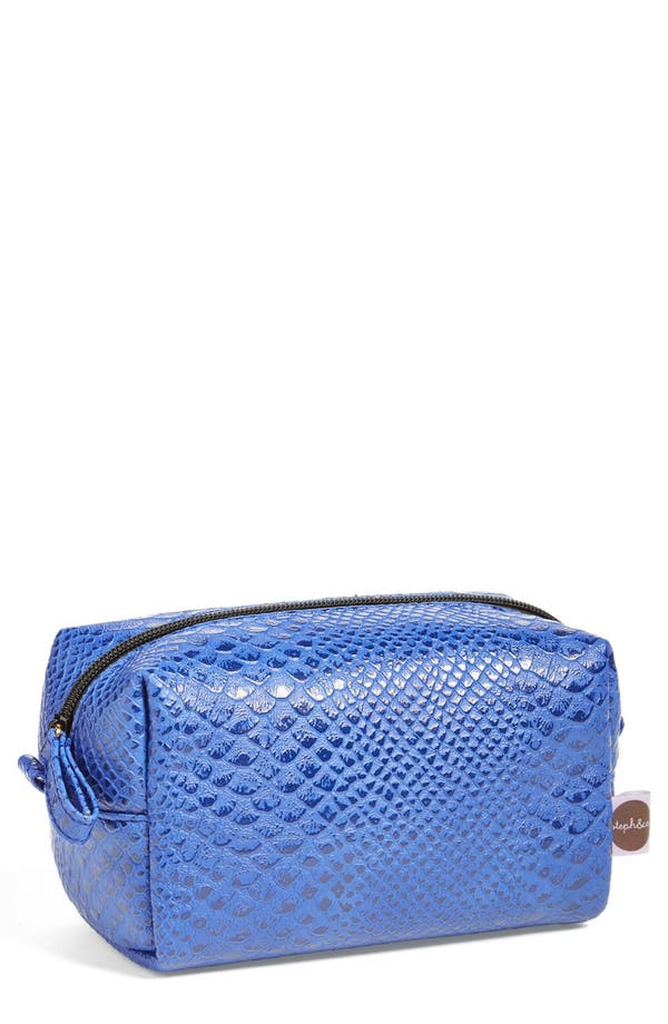 Main Image - steph&co. 'Blue Python' Rectangular Cosmetics Case (Nordstrom Exclusive)