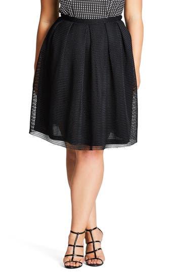 City Chic Love Me Pleat Mesh Skirt (Plus Size)