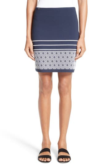 St. John Collection Diamond Double Jacquard Knit Skirt