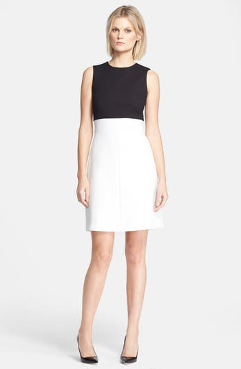 Theory Raneid Colorblock Fit Amp Flare Dress Nordstrom