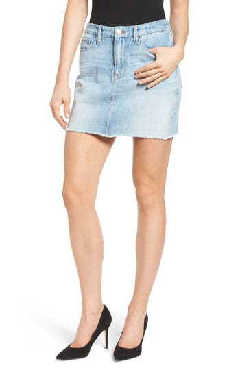 Good American The Mini High Waist Denim Miniskirt (Blue 033) (Extended Sizes)