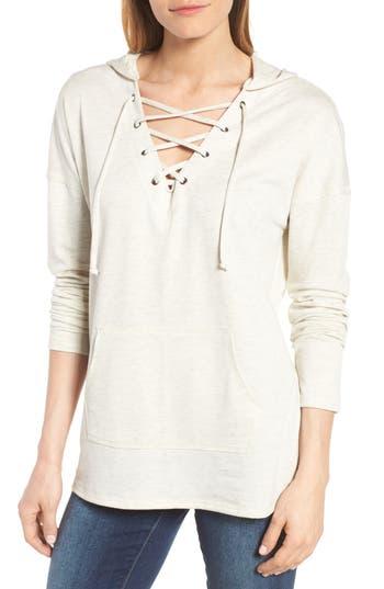 Caslon® Lace-Up Hooded Sweatshirt (Regular & Petite)