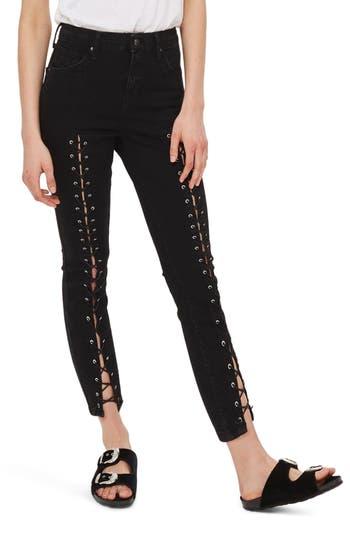 Topshop Jamie Front Laced Skinny Jeans (Regular & Petite)
