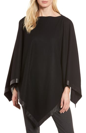 Eileen Fisher Leather Trim Wool Poncho (Regular & Petite)